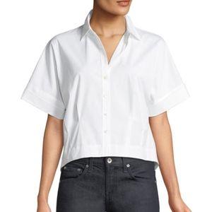 Theory Cropped Button Boxy Stretch-Cotton Shirt